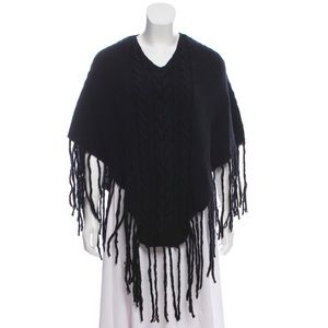 Burberry Cable Knit Cashmere Wool Poncho Cape
